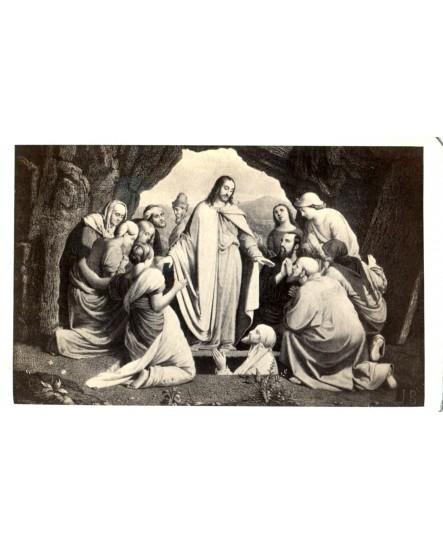 Christ dans la grotte entouré de ses apôtres. gravure