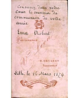 Communiante. Ema Robert. Lille le 26 mars 1874
