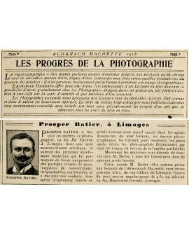 Biographie du photographe Prosper Batier dans l'Halmanach-Hachette de 1915
