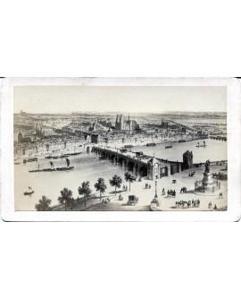 Gravure d'un pont de Paris avec fiacre, chevaux et bateaux