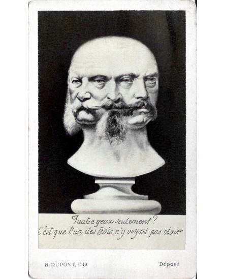 photomontage de trois têtes sur un buste
