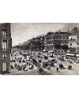 Gravure du Boulevard des Italiens à Paris en 1874
