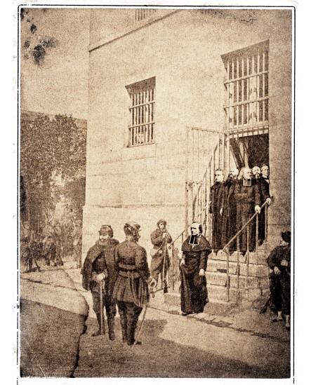 Militaires accueillant des prêtres durant la Commune