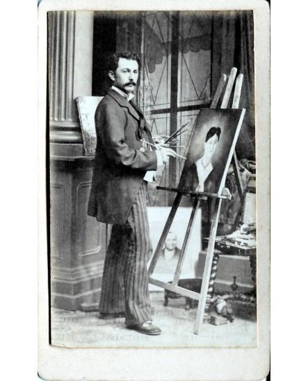 Gaetan Fibert peignant une toile. 1888