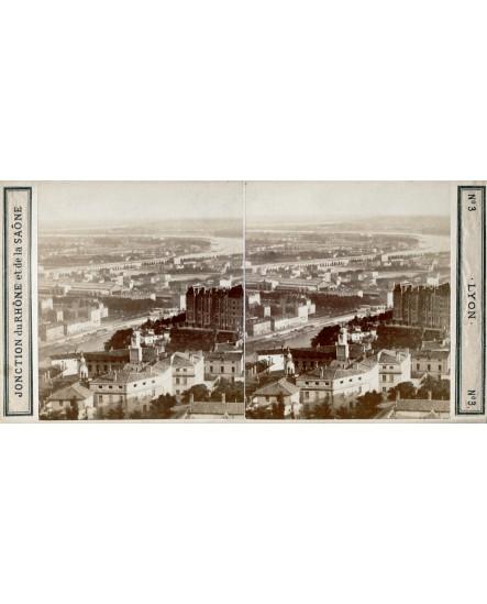 Jonction du Rhône et de la Saône. Lyon. carte stéréoscopique