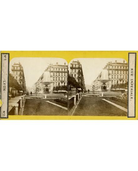 Lyon. Rue Impériale. carte stéréoscopique