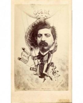 autoportrait caricature photographe A. Reynouls en ballon