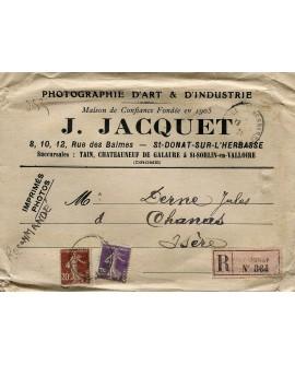 Enveloppe publicitaire du photographe J. Jacquet à Saint-Donat