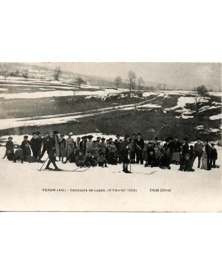 Concours de luges à Peron (Ain) le 19 février 1908