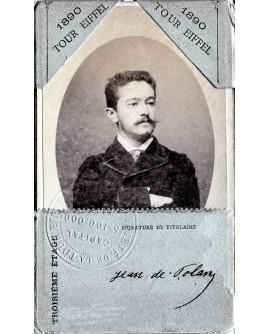 Portrait de Jean Polane sur une carte d'accès au troisième étage de la tour Eiffel