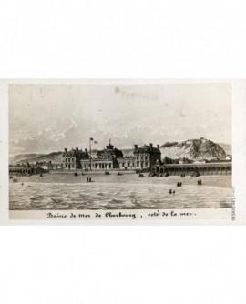 Gravure des bains de mer de Cherbourg