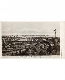 Vue générale (du port) de Cherbourg (gravure signée A. Maugendre)