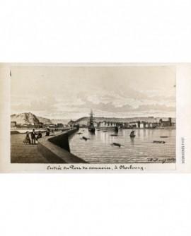 Entrée du port de commerce à Cherbourg (gravure signée A. Maugendre)