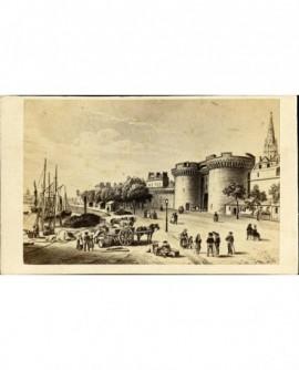 Le port et l'enceinte de St Malo vers 1840 (gravure)