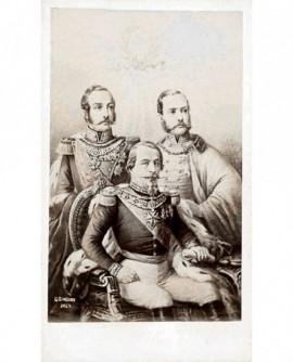 Napoléon III assis et ses aides de camp