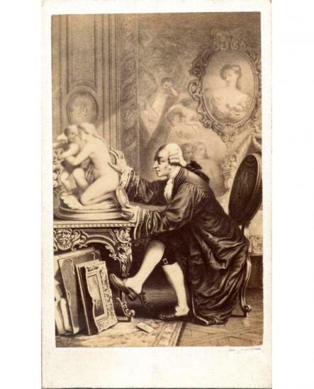 Peinture: Detouche. Dieu d\'autrefois caressant une femme sculptée