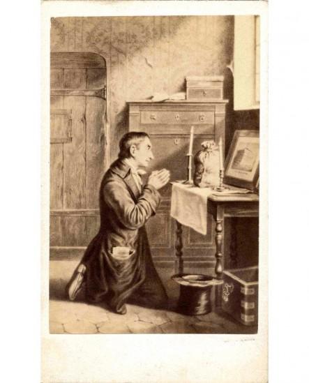 Peinture: Detouche.homme à genoux devant sac d\'or