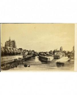 Gravure d'une vue sur un fleuve et d'une cathédrale