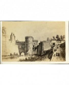 gravure d'une porte d'entrée (de style Vauban) de ville forfifiée