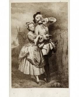 Peinture d'un militaire du temps de Louis XV et d'une femme se quittant
