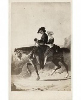 Peinture d'un ecclésiastique à cheval avec une jeune fille en croupe