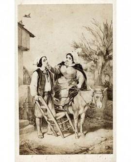 Peinture d'une femme à mulet carressant le visage d'un homme