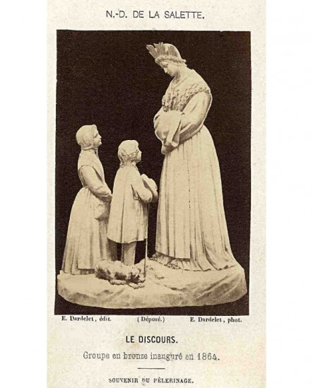Groupe en bronze des enfants de la Salette (souvenir de pélerinage)
