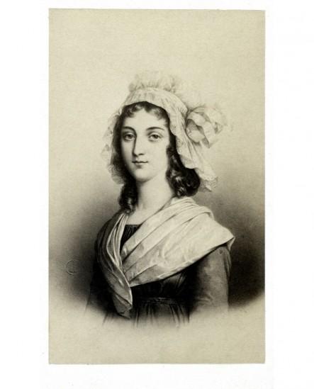 Portrait lithographié de Charlotte Corday en coiffe normande