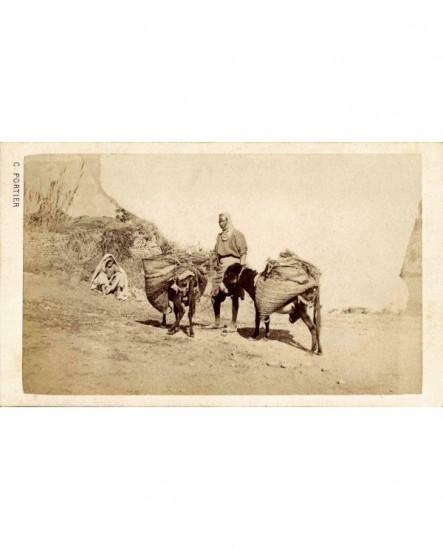 Vue d'Algérie. Paysans du sud avec leurs ânes