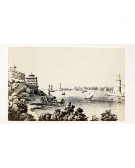 Marseille. Gravure de l'entrée du port