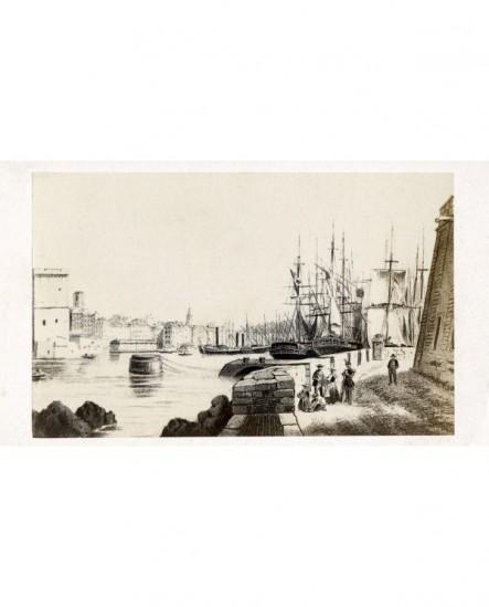 Marseille. Gravure du vieux port