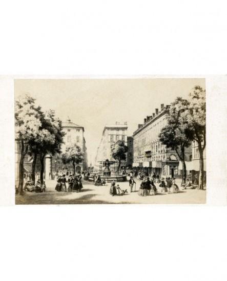 Place devant la Rue Impériale à Marseille. gravure