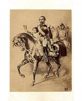 Napoléon III à cheval, avec le prince impérial sur sa selle