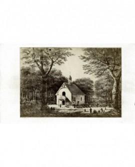 Gravure: procession vers chapelle dans la forêt