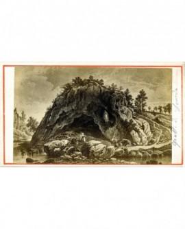 Gravure de la grotte de Lourdes. Bernadette Soubirous